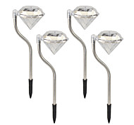 4pcs 1-LED Color Changing/ White Solar Powered Diamonds Lawn Light Pathway Garden Stake Lamp