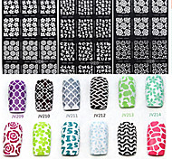 6X12PCS Flower Style Hollow Out DIY Paster Nail Art Diecut Manicure Stencils Guide