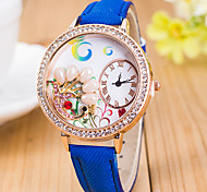 L.WEST Ladies' 3D Pearl Peacock Diamonds Denim Silicone Quartz Watch Cool Watches Unique Watches