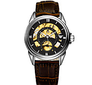 Men's Watch  LAGMEEY Double Hollow Waterproof Leather Watchband Mechanical Watches Cool Watch Unique Watch