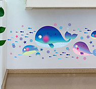 Waterproof Wall Painting Cartoon Whale Wall Stickers
