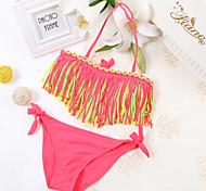 Small Fresh New Korean Children Swimwear Children Swimwear Girls Swimwear tassel Swimsuit Split