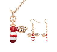 Women European Style Fashion Cute Little Bee Rhinestone Necklace / Earrings Sets
