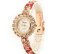 Women's Fashion Printing Large Diamond  Quartz Watch Leather Band Cool Watches Unique Watches