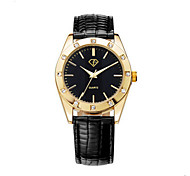 Men's Black/White Case Black Leather Band Wrist Dress Watch Jewelry Unisex Couple Wrist Watch Cool Watch Unique Watch