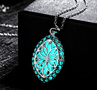 New Steampunk Fire Magical Glow in the Dark Luminous Olivary Pendant Necklace - Light Blue