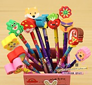 1PC Elementary School Students Prizes Creative Gift Pen Cartoon Wooden Pencil With Rubber Sets Of Pencils(Random color)