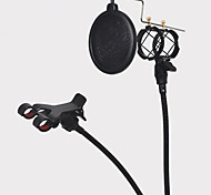 Shock Mount Microphone Stand Holder with Integrated Pop Filter and Mobile Phone Holder Black Kit