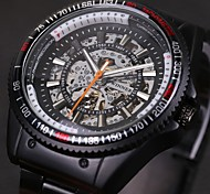 WINNER® Men's Skeleton Auto Mechanical Black Stainless Steel Band Wrist Watch Cool Watch Unique Watch