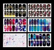 6 Set Water Transfer Foil Nails Art Sticker Mystery Galaxies Design Manicure Decor Decals Fashion Nail Stick