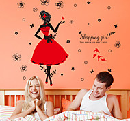 Wall Stickers Wall Decals, Fashion Shopping Girl PVC Wall Sticker