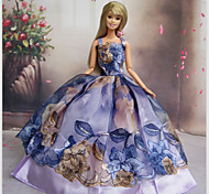 Barbie Doll Holiday Party Princess Dress with Peony Flower Pattern