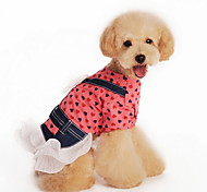Cat / Dog Dress / Shirt Red / Yellow Dog Clothes Summer Polka Dots / Bowknot Fashion Lovoyager
