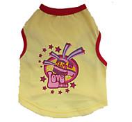 Cães Camiseta Amarelo Verão Estrelas / Desenhos Animados