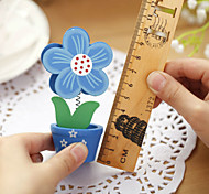 1PC Cute Flowers Photo Clip / Cartoon Wooden Flower Pot Message Card Folder/Desktop Decoration(Style random)