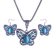 Набор украшений Ожерелье / серьги Pоскошные ювелирные изделия Акрил Имитация Алмазный Сплав В форме животных Бабочка ЗеленыйОжерелья