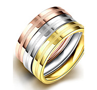 Fashion Simple Unisex's  Stripe Gold-Plated Titanium Steel Couple Rings(Golden,Rose Gold,Silver)(1Pc)