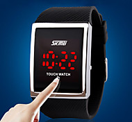 Men's Women's Unisex Sport Watch Digital Watch LED Touch Screen Digital Silicone Band Luxury Silver
