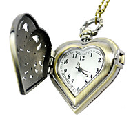 Unisex Pocket Watch Bronze Hollow Carved Retro Peach Heart-Shaped Clamshell Pocket Watch