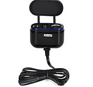 jtron motocicleta / cargador de coche w / conmutador de cinturón de seguridad / dual-USB - negro