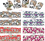 8pcs  Nail Art Water Transfer Stickers Skull And Flower Abstractive Image Fashion C248-251