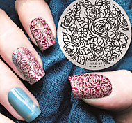 2016 Latest Version Fashion Pattern Rose Flower Nail Art Stamping Image Template Plates