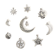Beadia Vintage Metal Pendants Antique Silver Star Moon & The Earth Shape Alloy Charm Pendants 10 Styles U-Pick