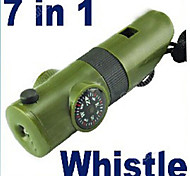 Survival Camping Whistle Compass Thermometer Flashlight 7in1