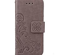 iphone 7 mais trevo padrão de couro de alta qualidade pu estojo de couro carteira com linha de mão para iphone 5 / 5s / SE