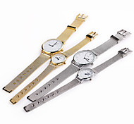 Couple's White Case Stainless Steel Band Wrist Fashion Dress Watch Cool Watches Unique Watches