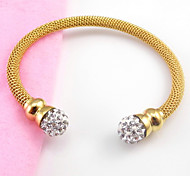 Stainless Steel Full Stone Beads End Cuff Bangle