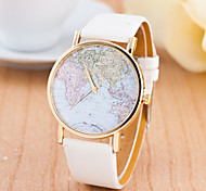 Women's Sport Watch Dress Watch Fashion Watch Wrist watch Large Dial Quartz Genuine Leather Band Charm World Map Multi-Colored