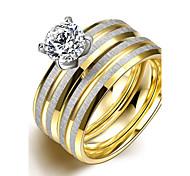 Original Fashion Unsex's Double Stripes White Zircon Gold-Plated Titanium Steel Couple Rings(Golden)(1Set)