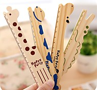 1PC Cartoon Animal Cute Hippo Giraffe 15Cm Ruler Tools Drafting School Supplies Wood Rulers Office Gift(Style random)
