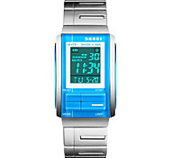 Unisex Slim LCD Digital Silver Steel Band Sport Watch
