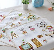 "4pcs Placemats Pack Comic Cat Cotton Fabric Washable Fashion Pattern 11.8"" by 12.6"""