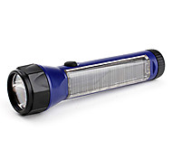 100 Lumens 6LED White Light Purple Solar Rechargeable Flashlight