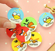 4PCS Rubber eraser round colorful bird bird cartoon eraser 4 a bag of mixed expression pattern(Style Random)