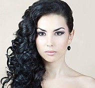 Long Curly Hair European Weave Light Black Hair Wig