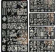 placas 1pc arte do prego de impressão diy de metal flores, floresta-bc11-20