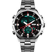 Masculino Relógio de Pulso Quartz LED / Calendário / Cronógrafo / Impermeável / Dois Fusos Horários / alarme Aço Inoxidável Banda Prata