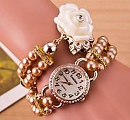 Women's Fashion Pearl Tassel Bracelet  Wound Double Ring Of Roses Watch Cool Watches Unique Watches