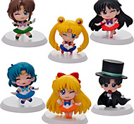 6PCS Q Version  Sailor Moon 5CM PVC Anime Action Figures Doll Toys Sets