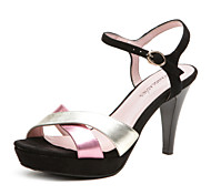 Aokang® Women's Vintage Crossover Cone Heel Sheepskin Sandals (pink)