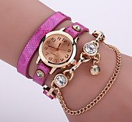 Lady's  Quartz Analog Gold Case Multilayer Leather Band Bracelet Wrist Fashion Watch Jewelry Cool Watches Unique Watches