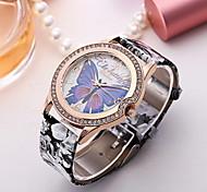 Damen Modeuhr Simultan? Diamant Uhr Quartz Leder Band Gelb Mehrfarbig 2 # 3 # 4 # 5 # 6 #