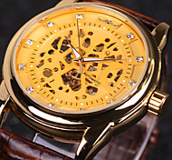 Men's Skeleton Auto Mechanical Leather Band Wrist Watch Cool Watch Unique Watch Fashion Watch