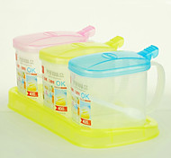 3Pcs/lot Plastic Seasoning Box Spice Bottles Kitchen Condiment Box Package Creative Seasoning Box(Random Color)