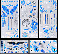 5pcs Blue Silver Wings Feather Totem Temporary Flash Metallic Tattoos Sticker Waterproof
