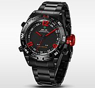 Men's Brand Luxury LED Double Time Black Stainless Steel Quartz Watch Cool Watch Unique Watch